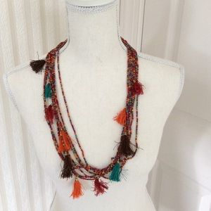 Beaded Necklace with Tassels